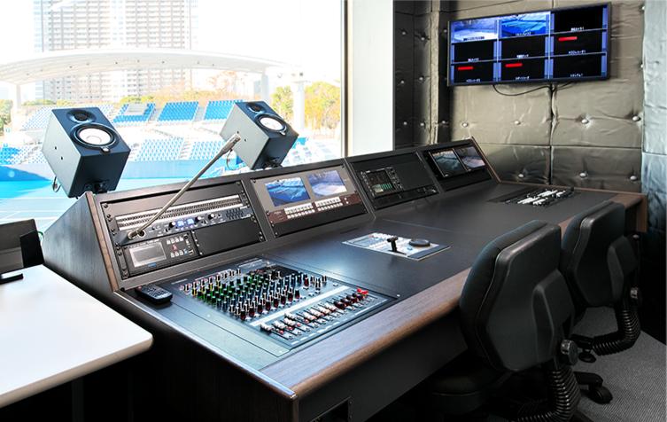 有明テニスの森 ショーコート大会進行室内 映像操作卓
